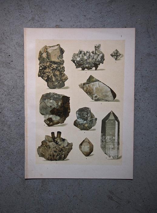 鉱物の版画 3 einfache kristallformen und kombinationen