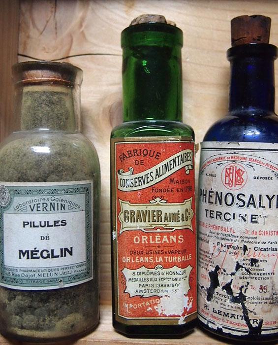 薬箱入りガラス瓶いろいろ14本 サービス品