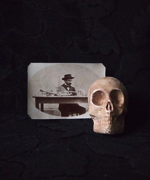 髑髏のオブジェと古写真