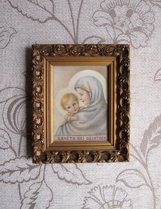 聖母子像入り額縁