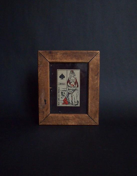 古い木枠のフレーム トランプ付き 2