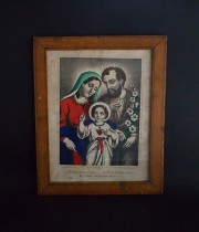 木製額入り聖家族画