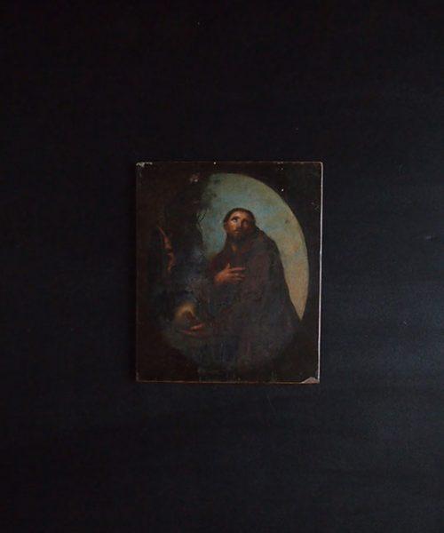 聖人と髑髏が描かれた板絵