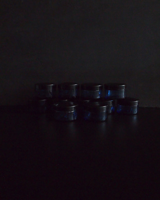 小さなブルーのガラス瓶 11個