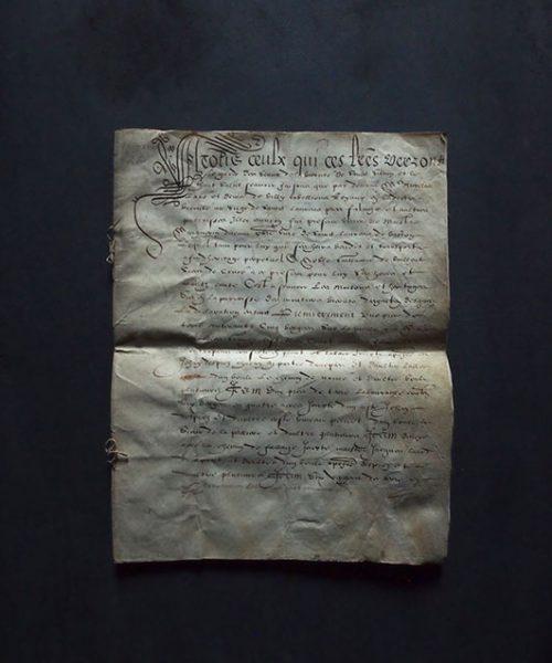 羊皮紙の書類 1616年