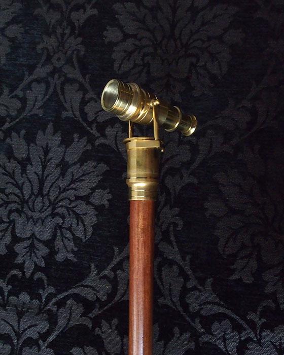 望遠鏡付き杖 ブラウン 現行品