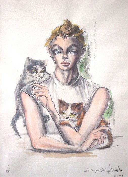 金子國義 リトグラフ『 猫と少年 』